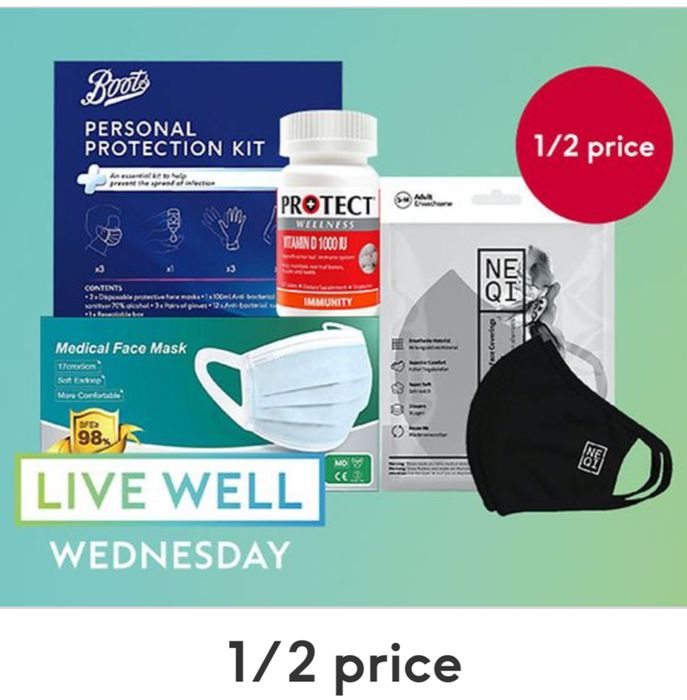 Live Well Wednesday Offers 1/2 Price on Face coverings,Hand sanitisers ,Gloves