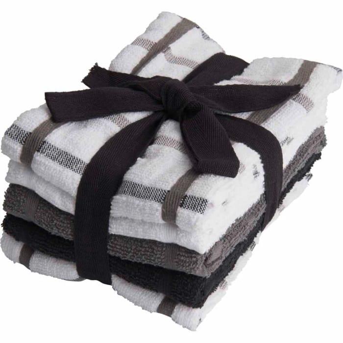 *SAVE £1* Wilko Black & Grey Tea Towel 5pk