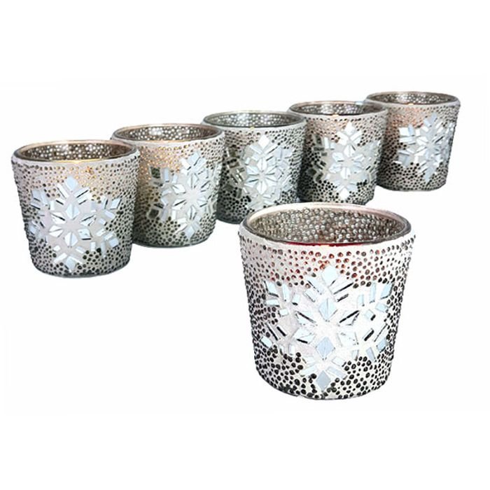 6 X Yankee Twinkling Snowflake Glass Votive Candle Holders