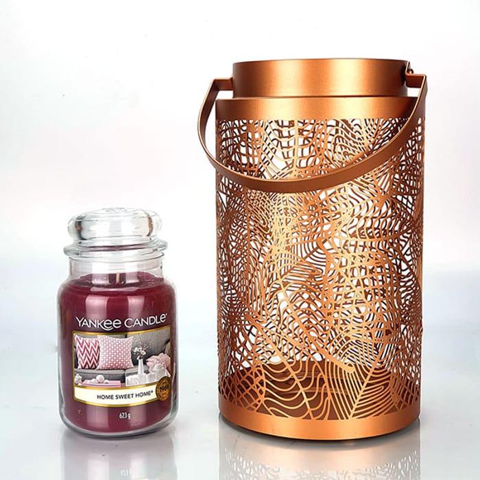 Yankee Candle Large Jar Candle and Leaves Lantern Candle Holder