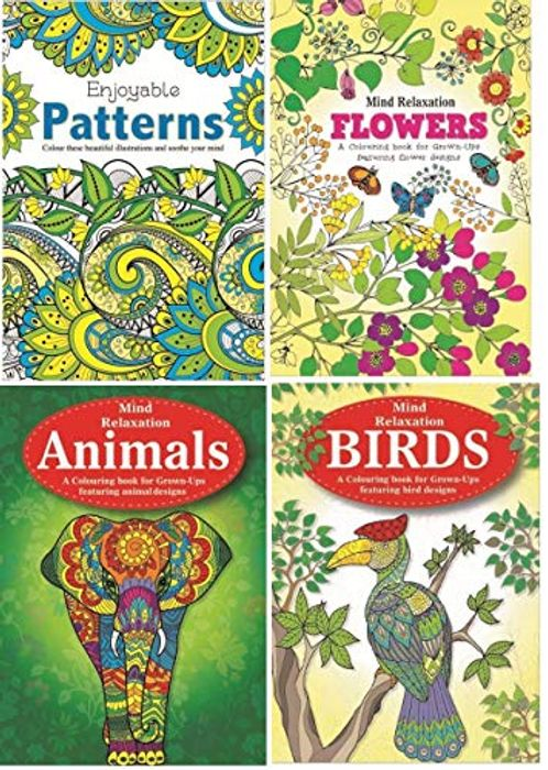 A4 Adult Anti-Stress Colouring Book Set of 4