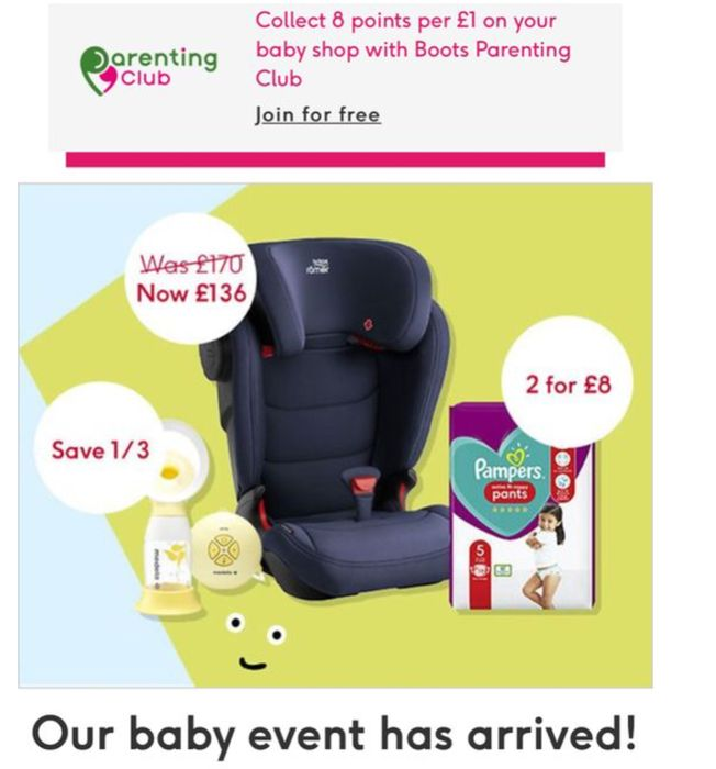 Baby Event, 20% Car Seats,1/2 Price Tommy Tippee SMA Baby Milk£8,More Offers In