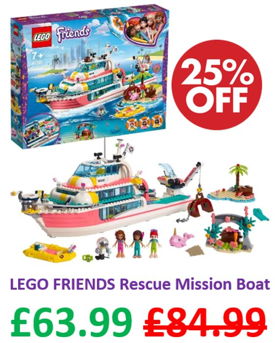 SAVE £21 - LEGO FRIENDS 41381 - Rescue Mission Boat ***4.8 STARS***