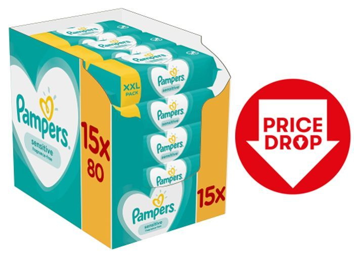 GOING CHEAP! 1200 Pampers Sensitive Baby Wipes + FREE PRIME DELIVERY