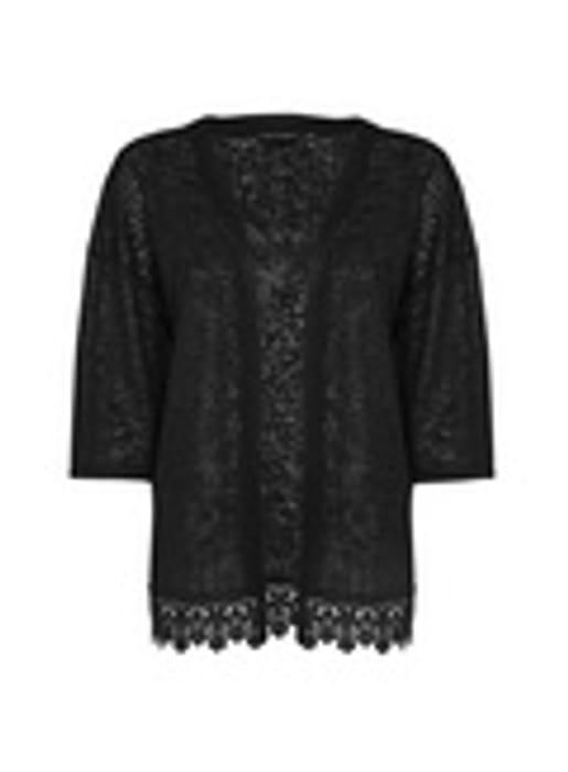 Black Crochet Hem Kimono