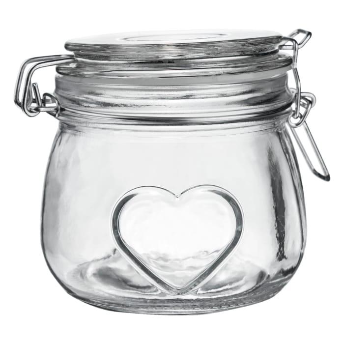Nicola Spring Embossed Heart Glass Storage Jar - 500ml
