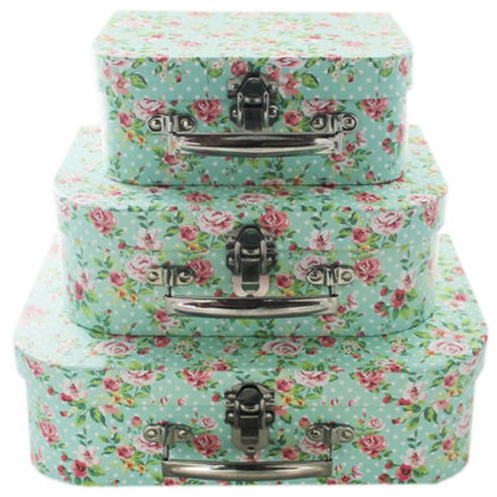 2 for £10  Rose Print Storage Suitcases - Set Of 3