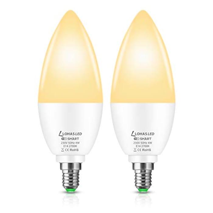 Save 80%- LOHAS LED WiFi Smart Bulb E14- Pack of 2
