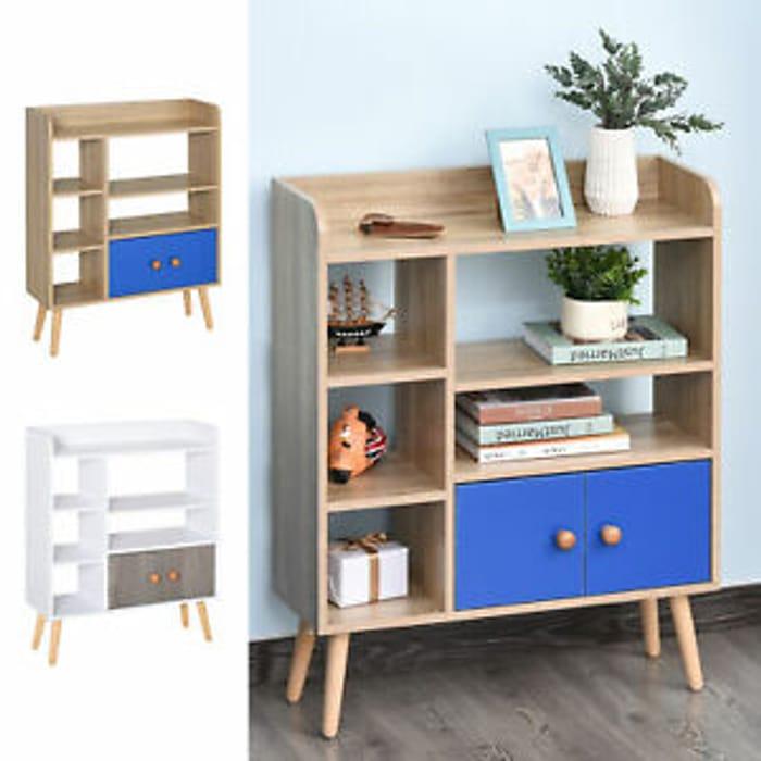Multi-Shelf Bookcase Freestanding Storage W/ Cabinet Shelves Wood Legs