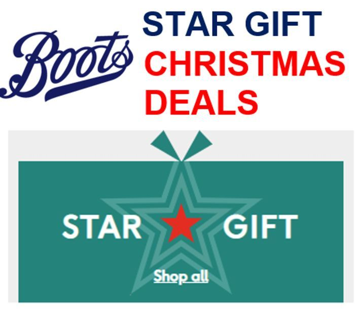 16 BOOTS CHRISTMAS 'STAR GIFTS'