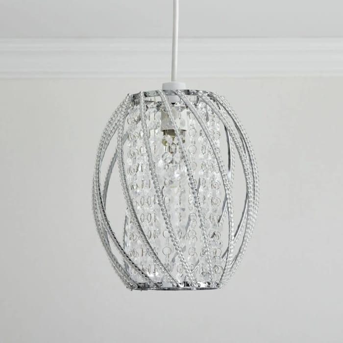 Oval Twist Beaded Clear Pendant Light Shade
