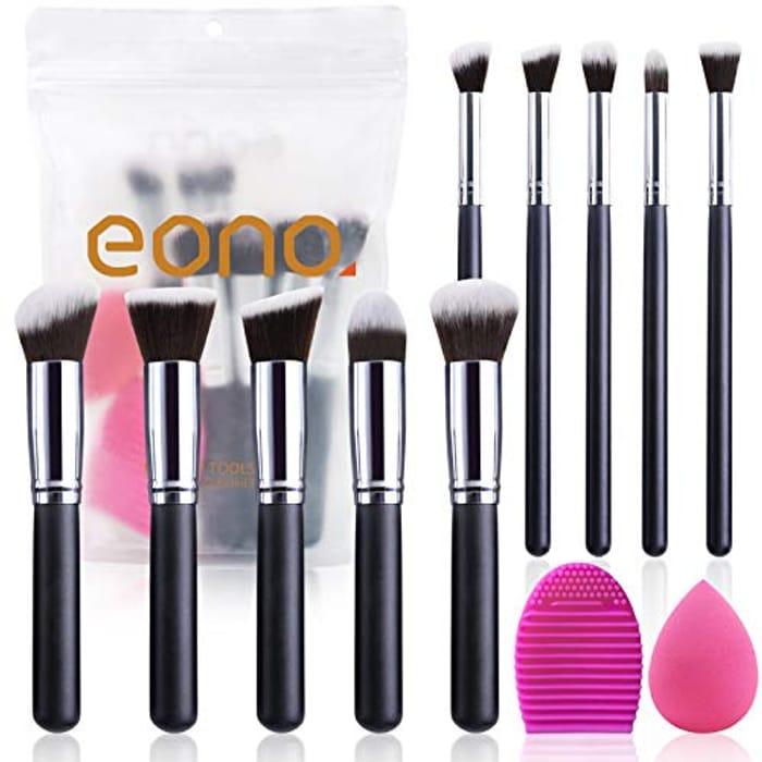 4.99 Makeup Brush Kit with Blender Sponge and Brush Egg (10+2pcs, Black/Silver)