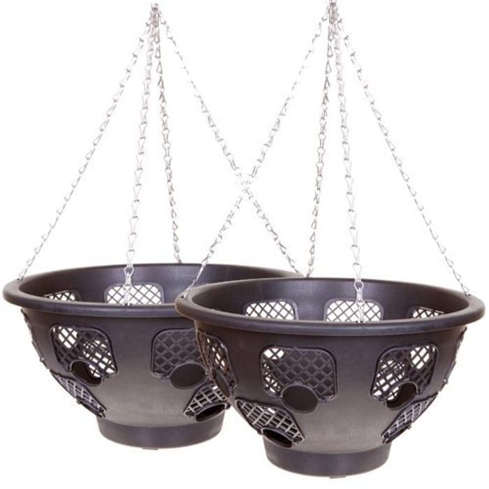 YouGarden BOGOF Easy Fill Hanging Basket - 15 Inch (2 Baskets)