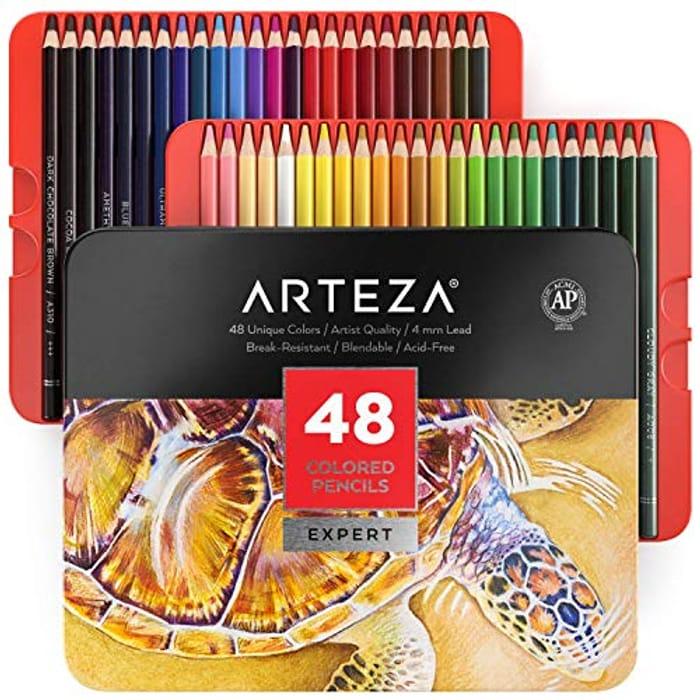 Arteza Colouring Pencils, Professional Set of 48 Colours in a Tin Box,