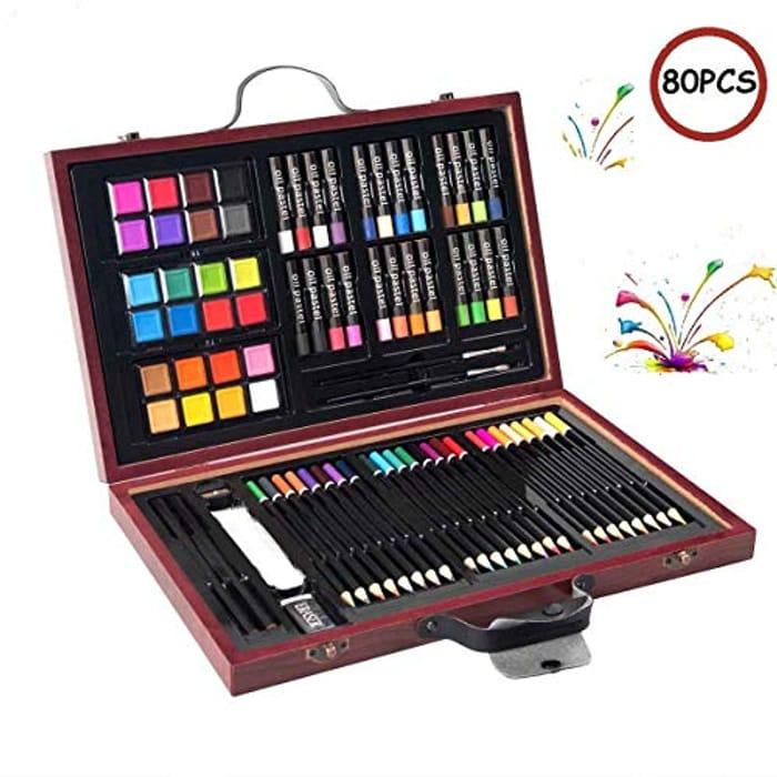 COSTWAY 80 Piece Deluxe Art Set, Art School Stationery Creativity Drawing