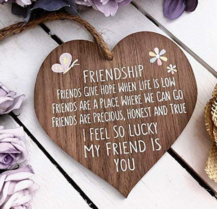I'm Lucky My Friend is You Wooden Hanging Heart Friendship