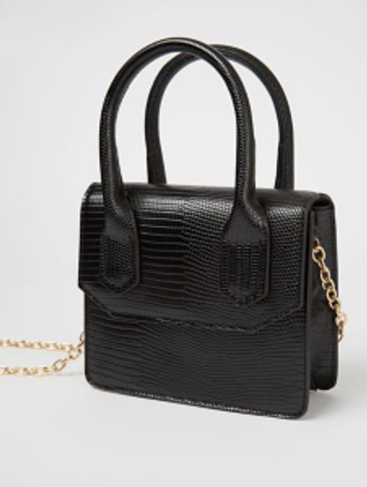Black Patent Lizard Print Chain Strap Cross Body Bag
