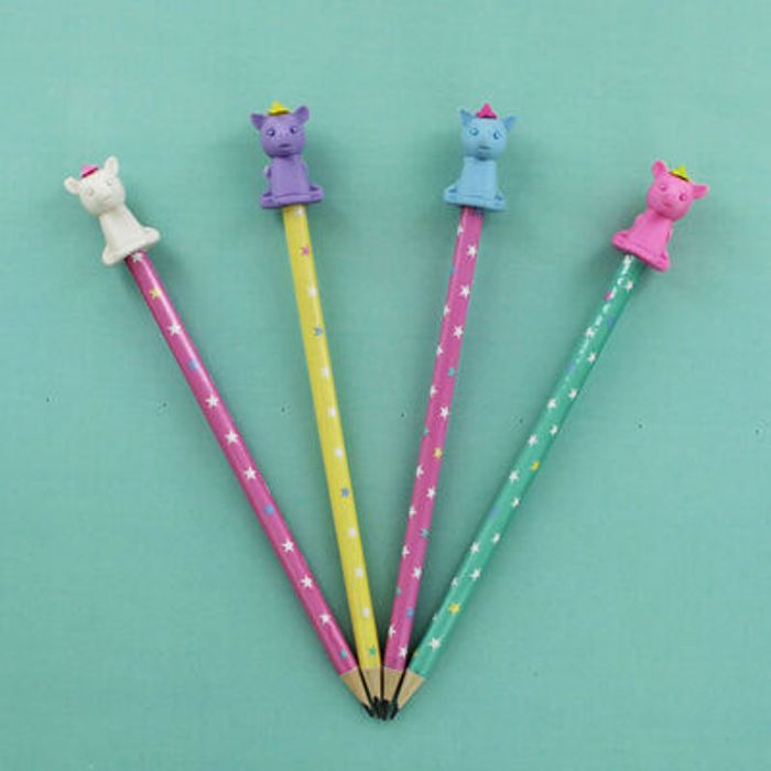 Unicorn Pencils with Toppers - 4 Pack