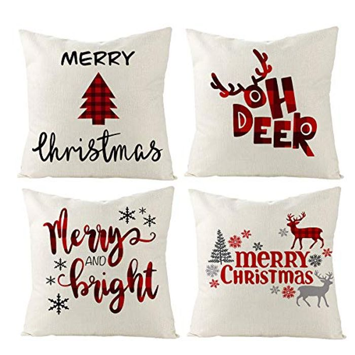FengRise Christmas Throw Pillow Covers Set with £10 off Coupon