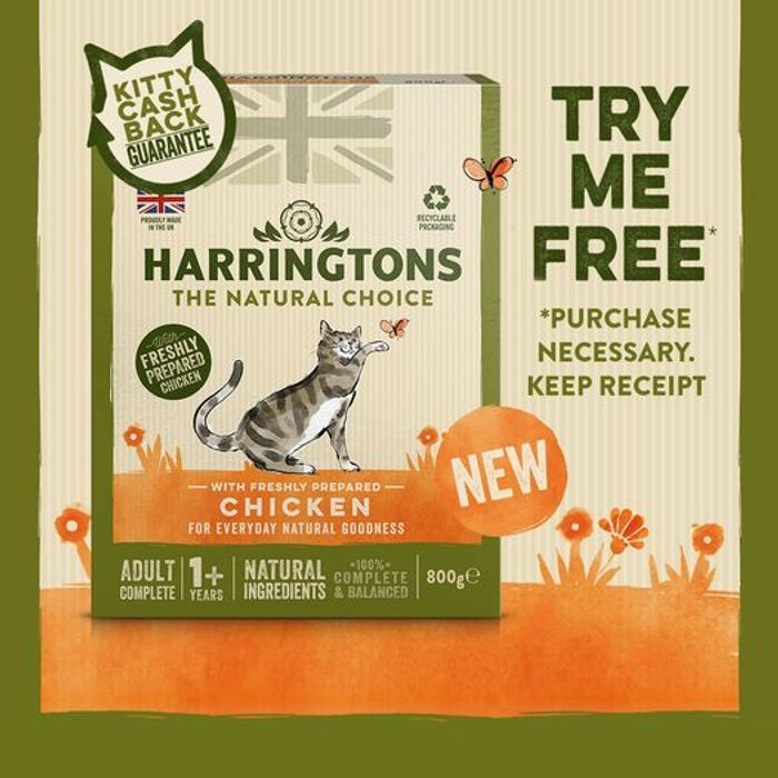 Free 800g Box of Harringtons Dry Cat Food