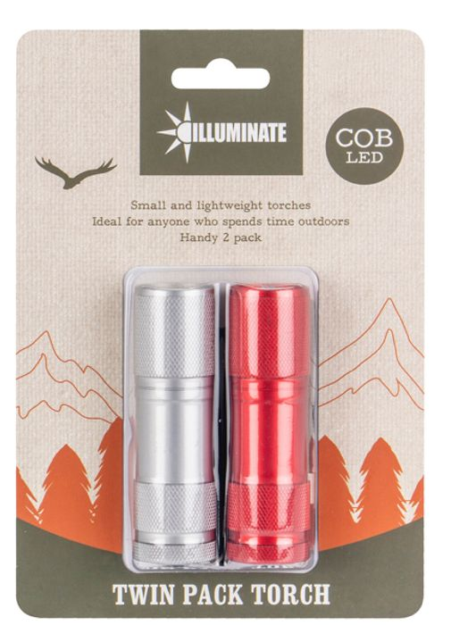 Pack of 2 Aluminium COB Torches
