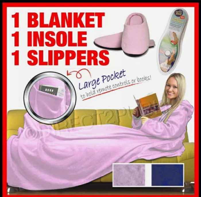 3 in 1 pink Cuddle Blanket & Slippers