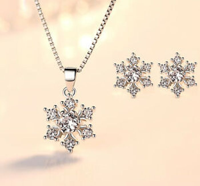 925 Sterling Silver Snowflake Stud Earrings & Necklace Set £3.99 Delivered