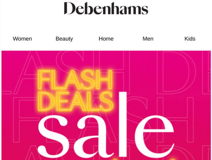 Debenhams Flash Sale: £20 off When You Spend £75 Clothing + Free Delivery