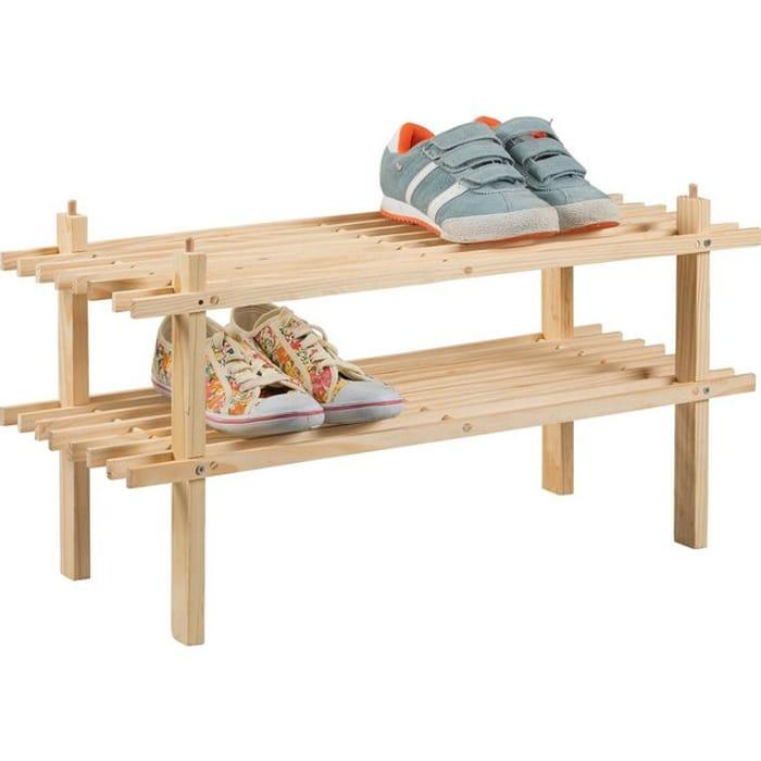 Argos Home 2 Shelf Shoe Storage Rack - Solid Pine