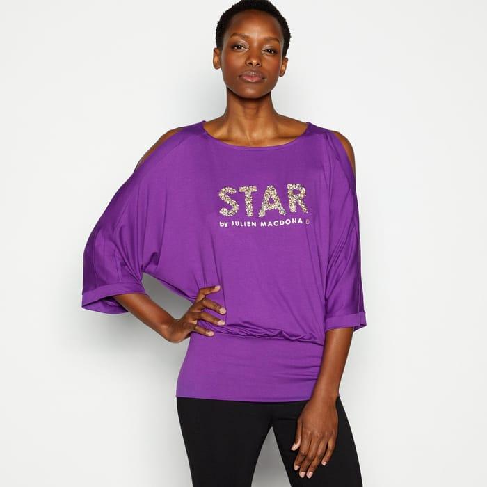 Star by Julien Macdonald - Purple Embellished 'Star' Bubble Hem Top