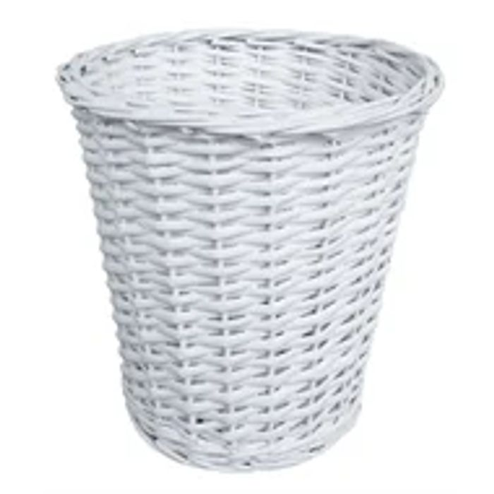Wicker Bin/Basket - White