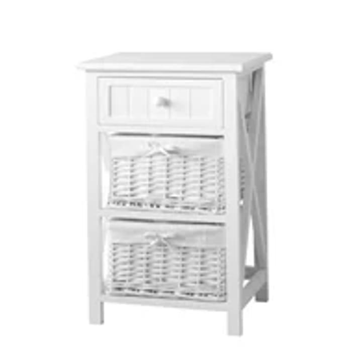 White Classic 1 Drawer, 2 Willow Basket Storage Unit