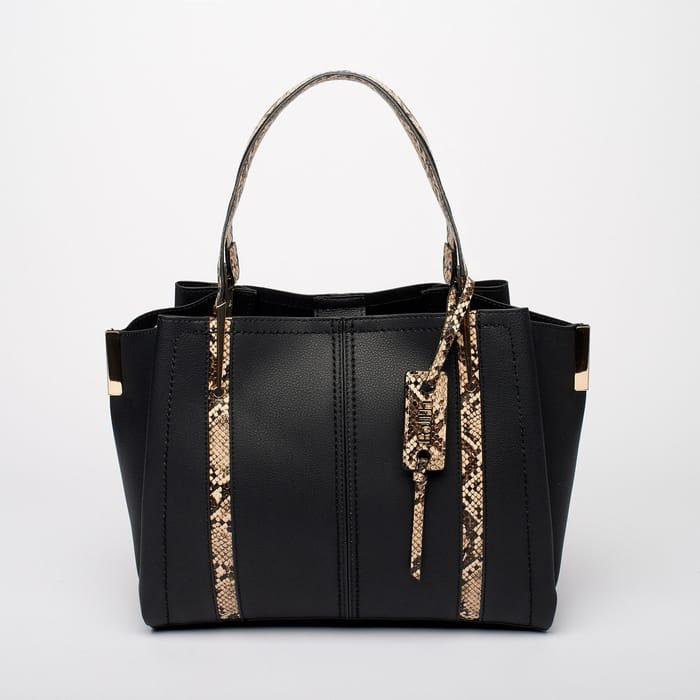 Faith - Black 'Luella' Unlined Snake Print Trim Grab Bag
