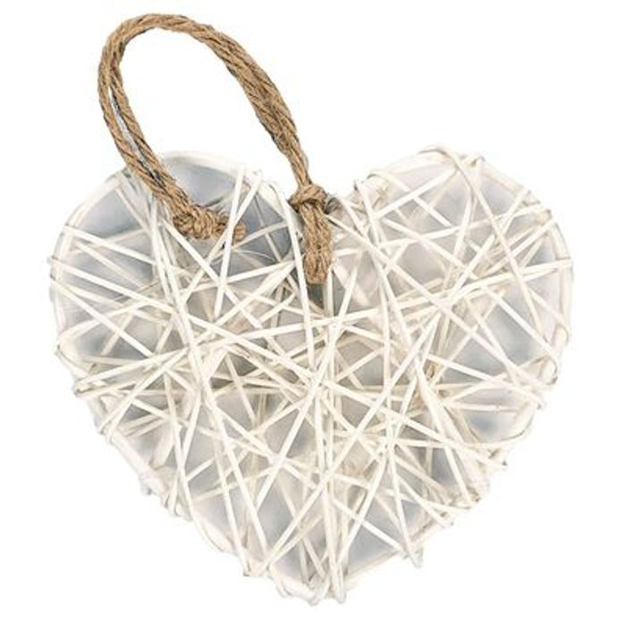 White Rattan Hearts: Pack of 6