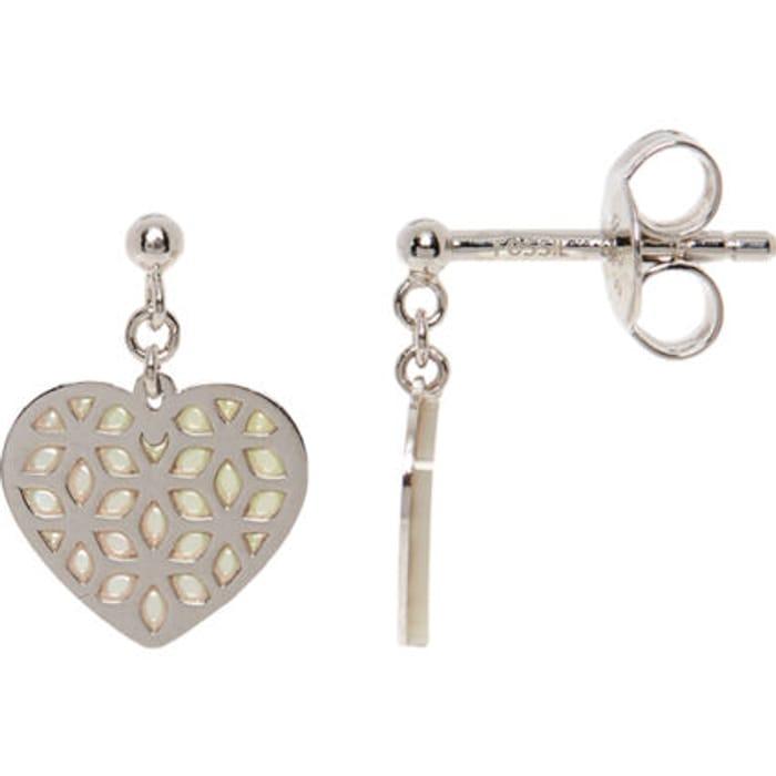 FOSSIL Sterling Silver Heart Earrings