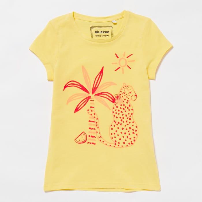 Girls' Pale Yellow Cheetah Print Cotton T-Shirt