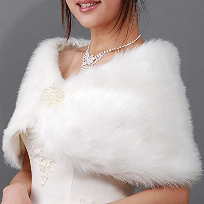 HuntGold 1X Bridal Wedding ABS Pearls Faux Fur Shrug FREE DELIVERY