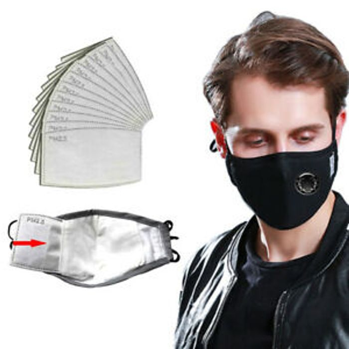 Reusable Cotton Valve Face Mask & 12 Weeks Supply of PM2.5 Carbon Pads