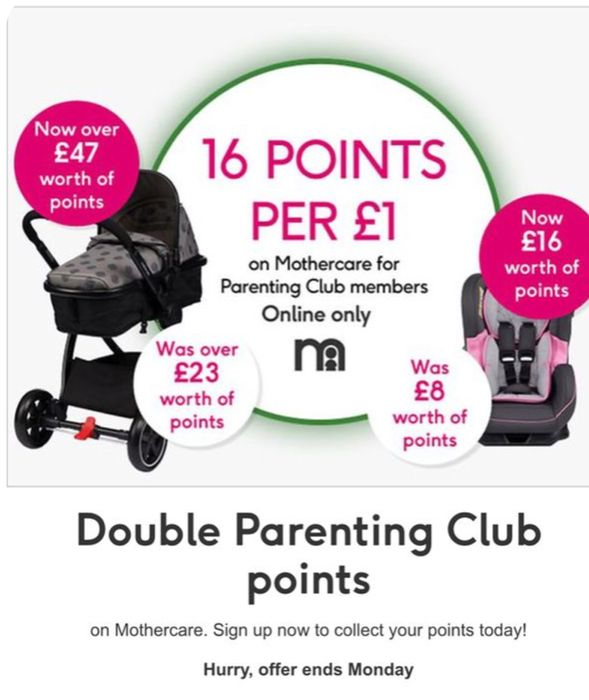 Parenting Club Offer: Double Parenting Club Points on Mothercare - Online Only