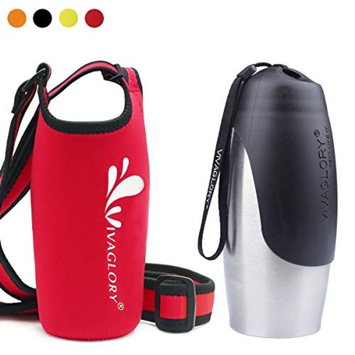750ml Large Dog Travel Water Bottle with Red Neoprene Water Bottle Sling