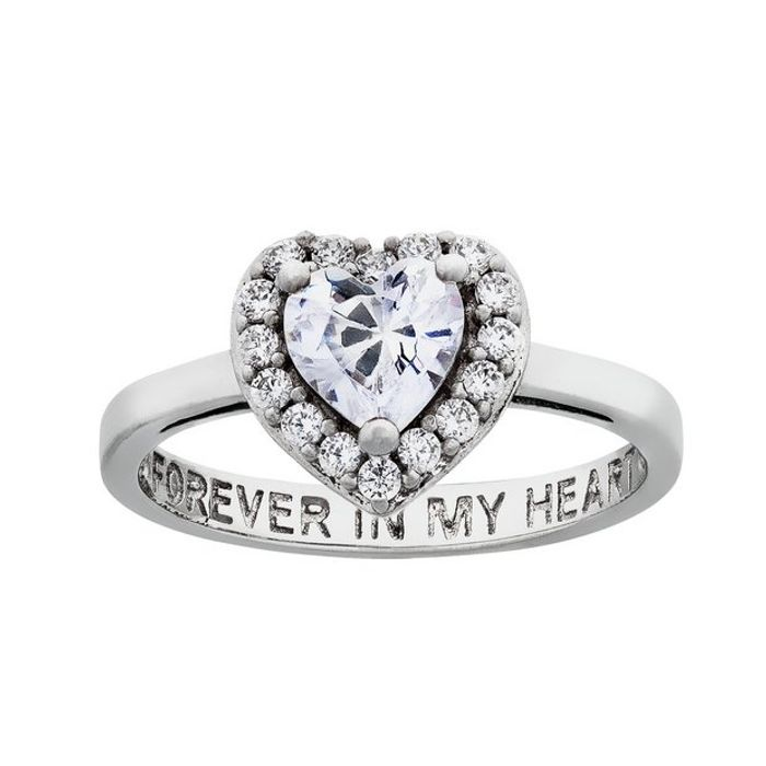 Moon & Back Sterling Silver 'Forever in My Heart' Ring - N