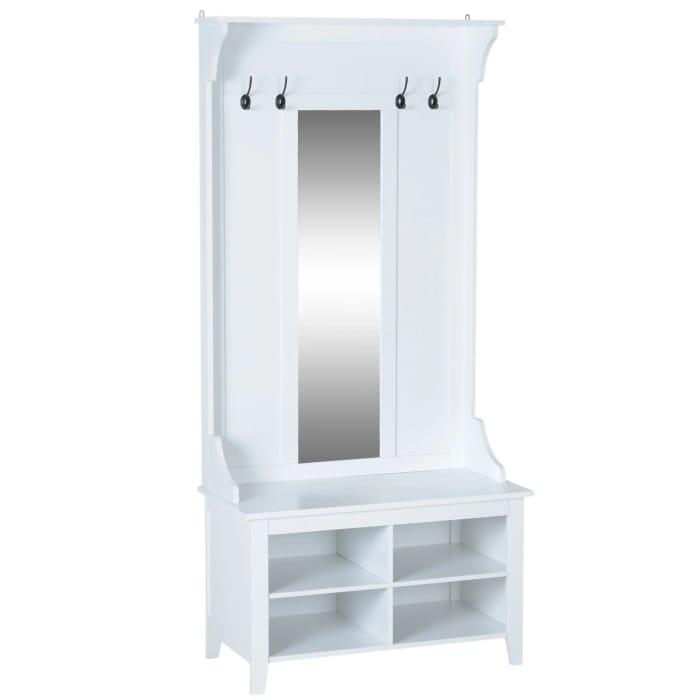 HOMCOM Hallway Mirror Cabinet W/4 Hooks, 80Lx40Wx170H Cm-White