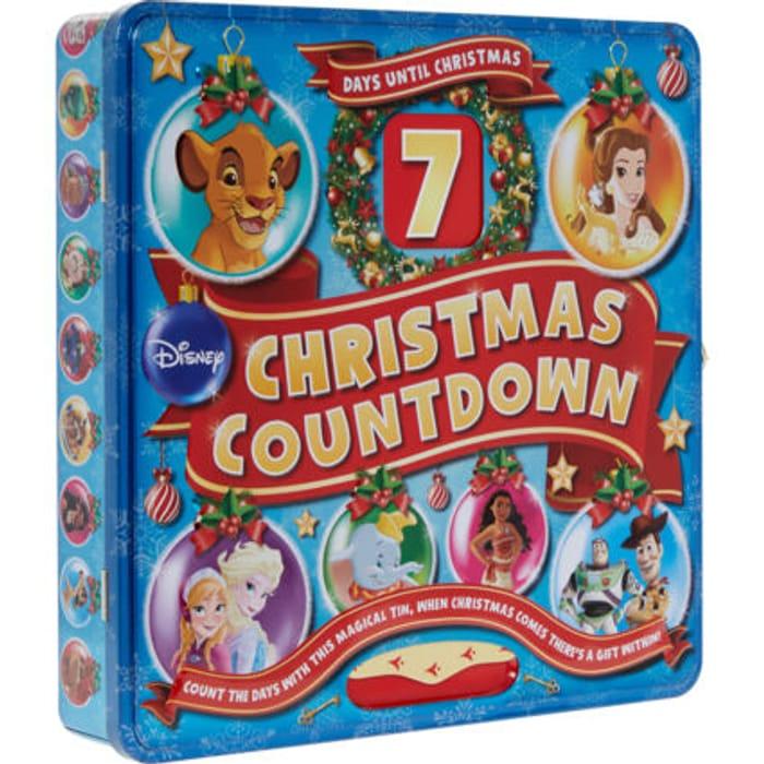 DISNEY Blue Christmas Countdown Gift Tin 25x25cm