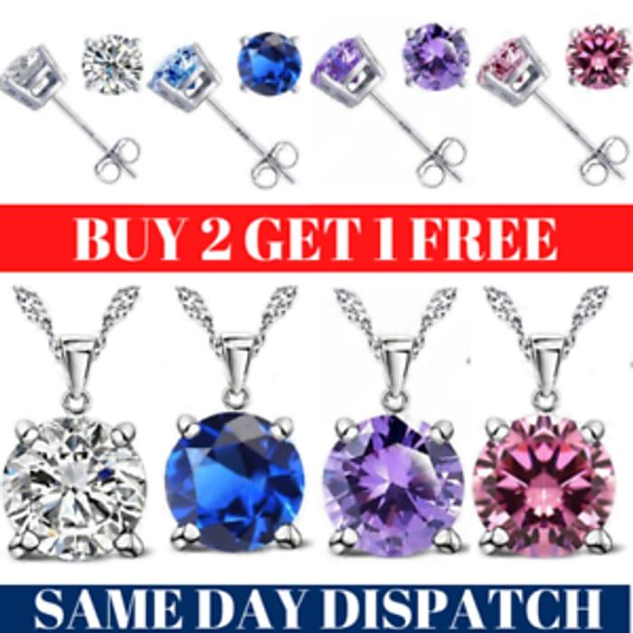925 Sterling Silver Swirl Necklace Stud Earrings Set