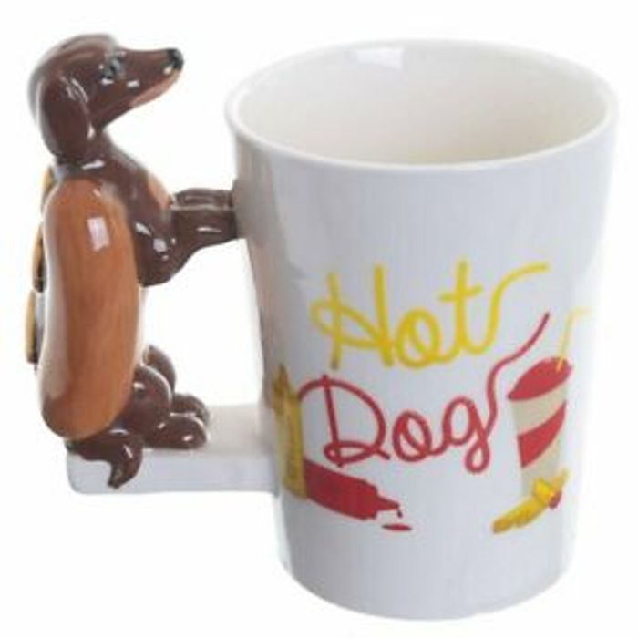 Hot Dog Sausage Dog Novelty 3d Handle Coffee Mug Cup New in Gift Box