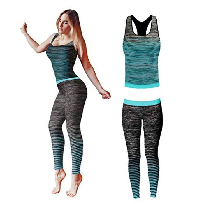 Yoga Outfit Set Top and Legging Stretch-Fit (One Size 8-14)