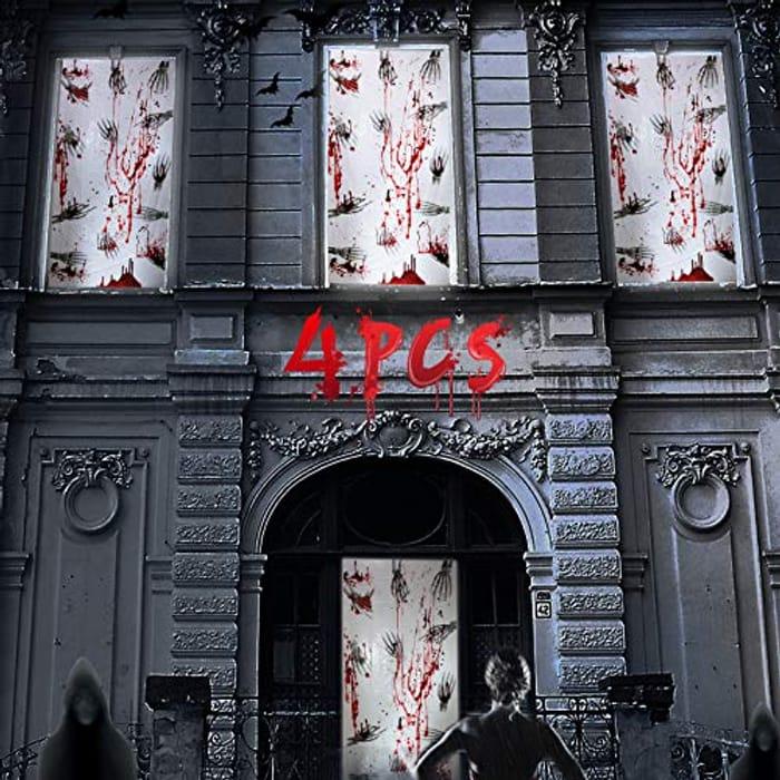 4 X Creepy Halloween Door / Window Decorations