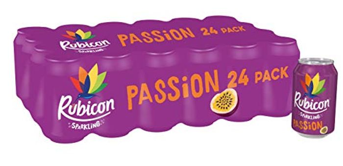 Rubicon Sparkling Passion Fizzy Drink Cans, 330ml, (Pack of 24)