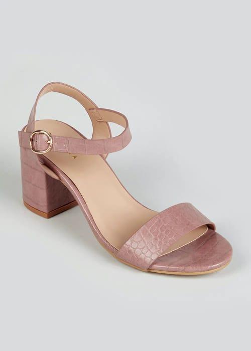 Cheap Pink Croc Block Heel Sandals at Matalan