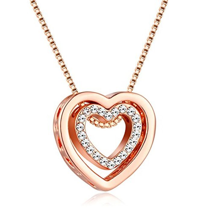 Heart Necklace for Women Rose Gold Silver Double Heart